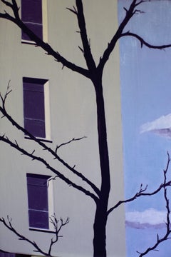 'Grey Building Blue Sky' Oil on Canvas, Contemporary Painting, Nude