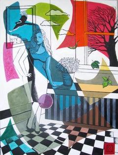 Karen Lynn, Blue Woman, Original Painting, Contemporary Art, Affordable Art