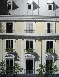 'Paris Facade' Oil on Canvas, Contemporary Painting