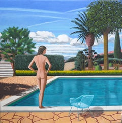 'ST. Paul Pool' Oil on Canvas, Contemporary Painting, Nude