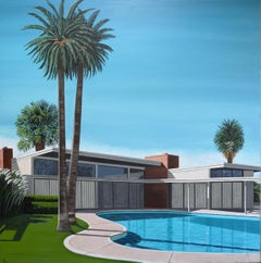 'Twin Palms' Oil on Canvas, Contemporary Painting