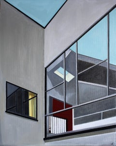 'Window Angles' Oil on Canvas, Contemporary Architectural Painting