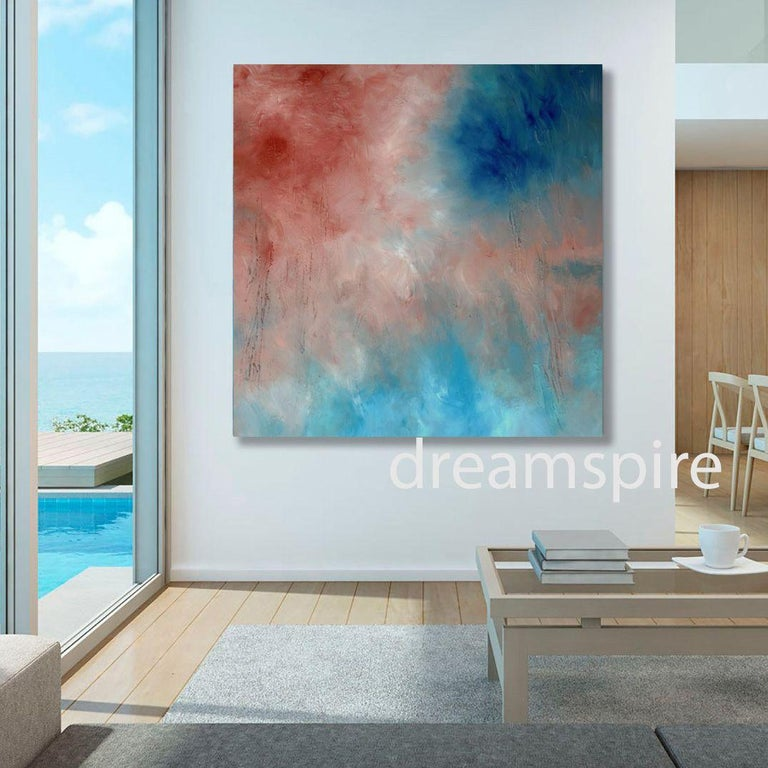 Dreamspire, Painting, Acrylic on Canvas - Gray Abstract Painting by Karen Moehr