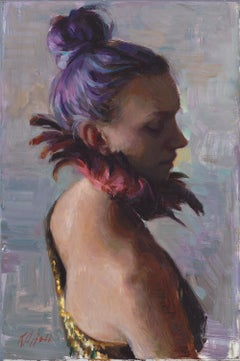 Feathers, oil painting , Figurative style, Austin Texas artist, Framed,