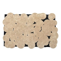Karesansui Black and Beige Rug by Matteo Cibic