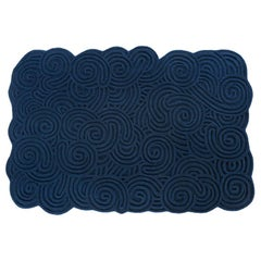 Karesansui Dark Blue Rectangular Large Rug by Matteo Cibic