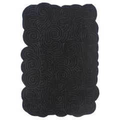 Karesansui Black Rectangular Large Rug by Matteo Cibic