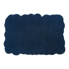 Karesansui Dark Blue Rectangular Small Rug by Matteo Cibic