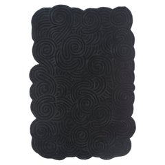 Karesansui Black Rectangular Small Rug by Matteo Cibic