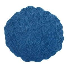 Karesansui Dark Blue Round Rug by Matteo Cibic