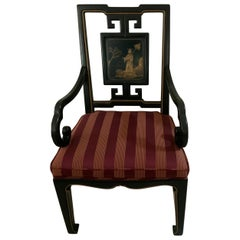 Karges Black Lacquer Chinoiserie Chair