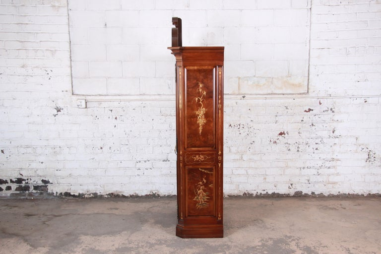 Karges Burl and Cherrywood Hollywood Regency Chinoiserie Armoire Dresser For Sale 11