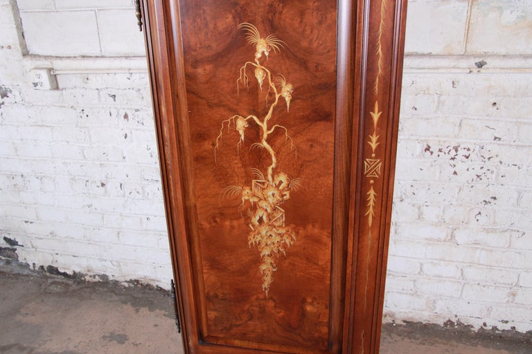 Karges Burl and Cherrywood Hollywood Regency Chinoiserie Armoire Dresser For Sale 12