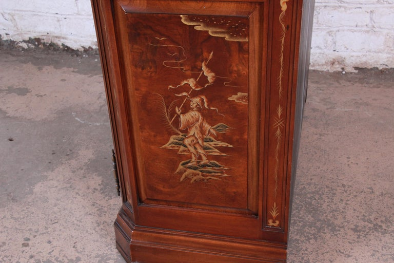 Karges Burl and Cherrywood Hollywood Regency Chinoiserie Armoire Dresser For Sale 13