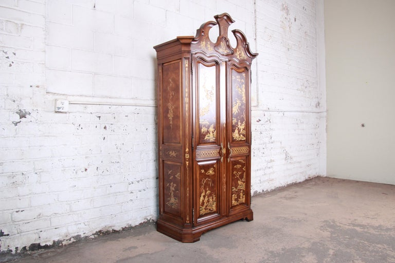 American Karges Burl and Cherrywood Hollywood Regency Chinoiserie Armoire Dresser For Sale