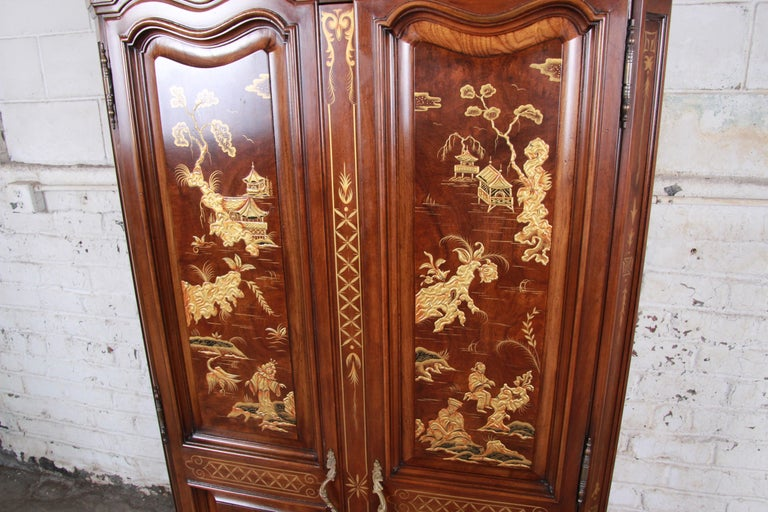 20th Century Karges Burl and Cherrywood Hollywood Regency Chinoiserie Armoire Dresser For Sale