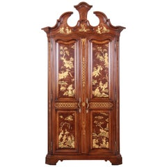 Karges Burl and Cherrywood Hollywood Regency Chinoiserie Armoire Dresser