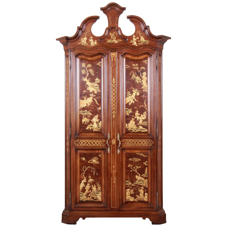 Karges Burl and Cherrywood Hollywood Regency Chinoiserie Armoire Dresser For Sale