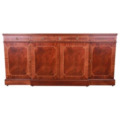 Karges Chippendale Inlaid Mahogany Sideboard Credenza or Bar Cabinet, Restored