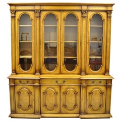 Karges Italian Provincial Large Fruitwood Burl Wood Breakfront China Cabinet