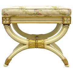 Karges X Frame French Neoclassical Regency Style Cream Gold Curule Bench Stool