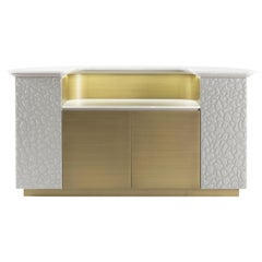 Kariba Bar Cabinet in Leather with Marble Top by Roberto Cavalli Home Interiors