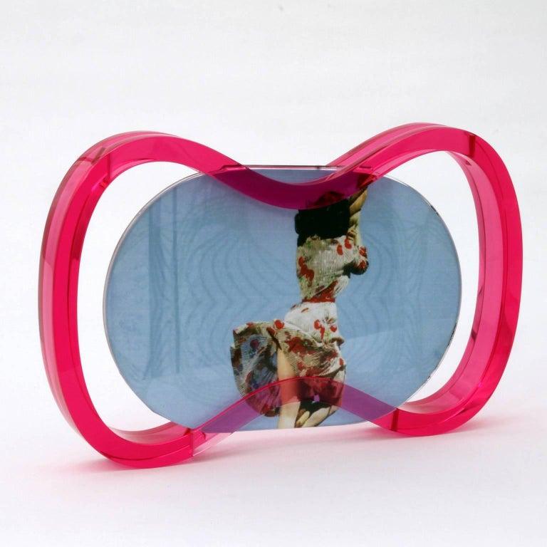 Post-Modern Italian Plexiglass  Contemporary Pop Frame, Humour Plexi Fuchsia For Sale