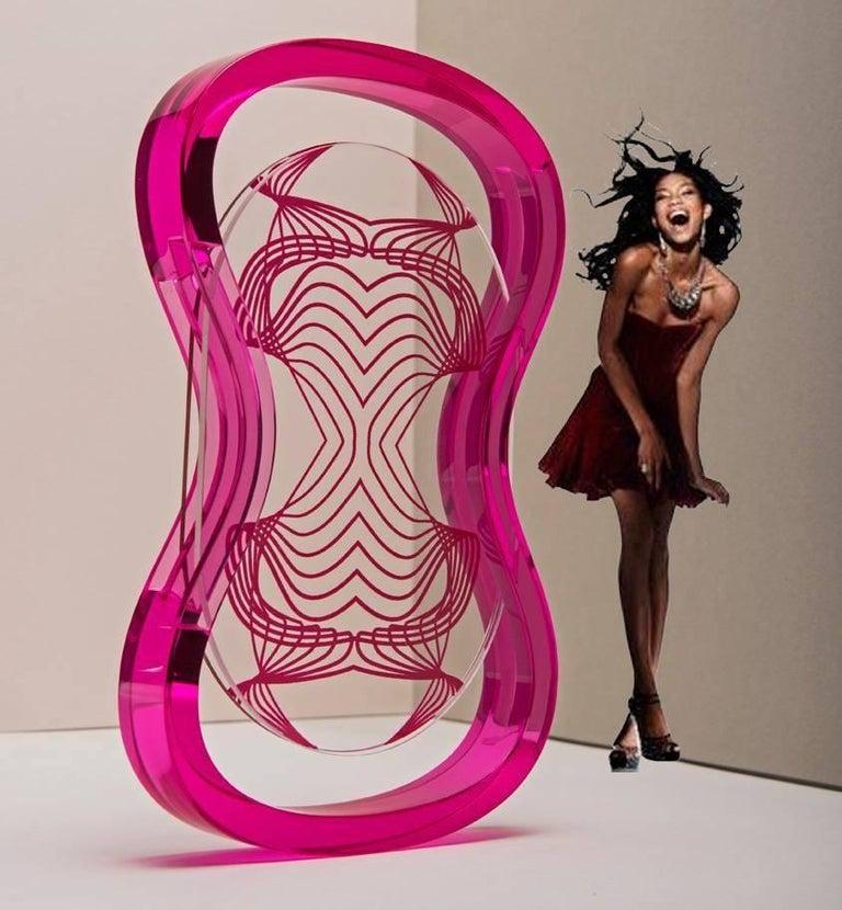 Italian Plexiglass  Contemporary Pop Frame, Humour Plexi Fuchsia For Sale 1