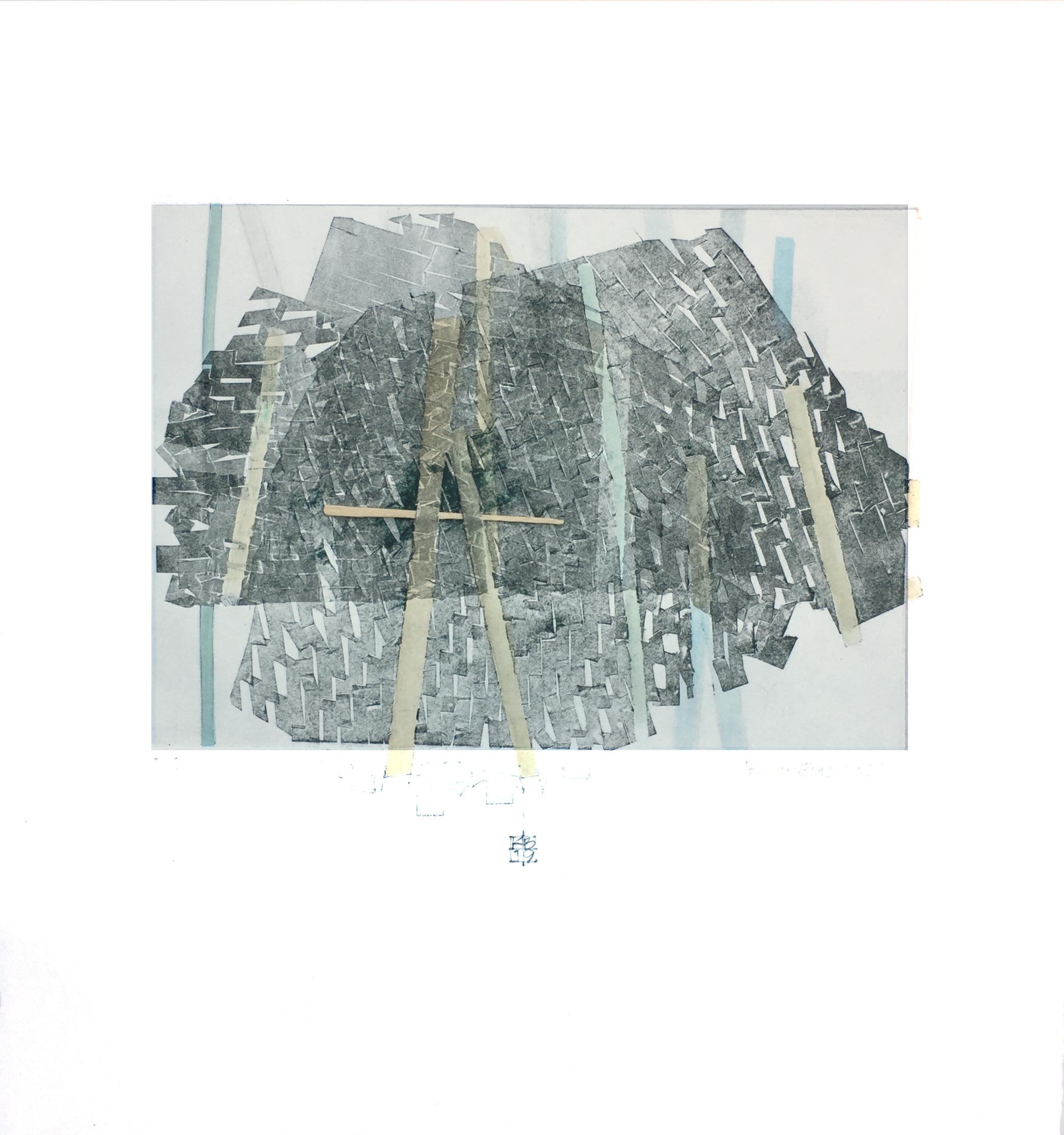 Behind Bars No. 2, abstract mixed media on paper, grey