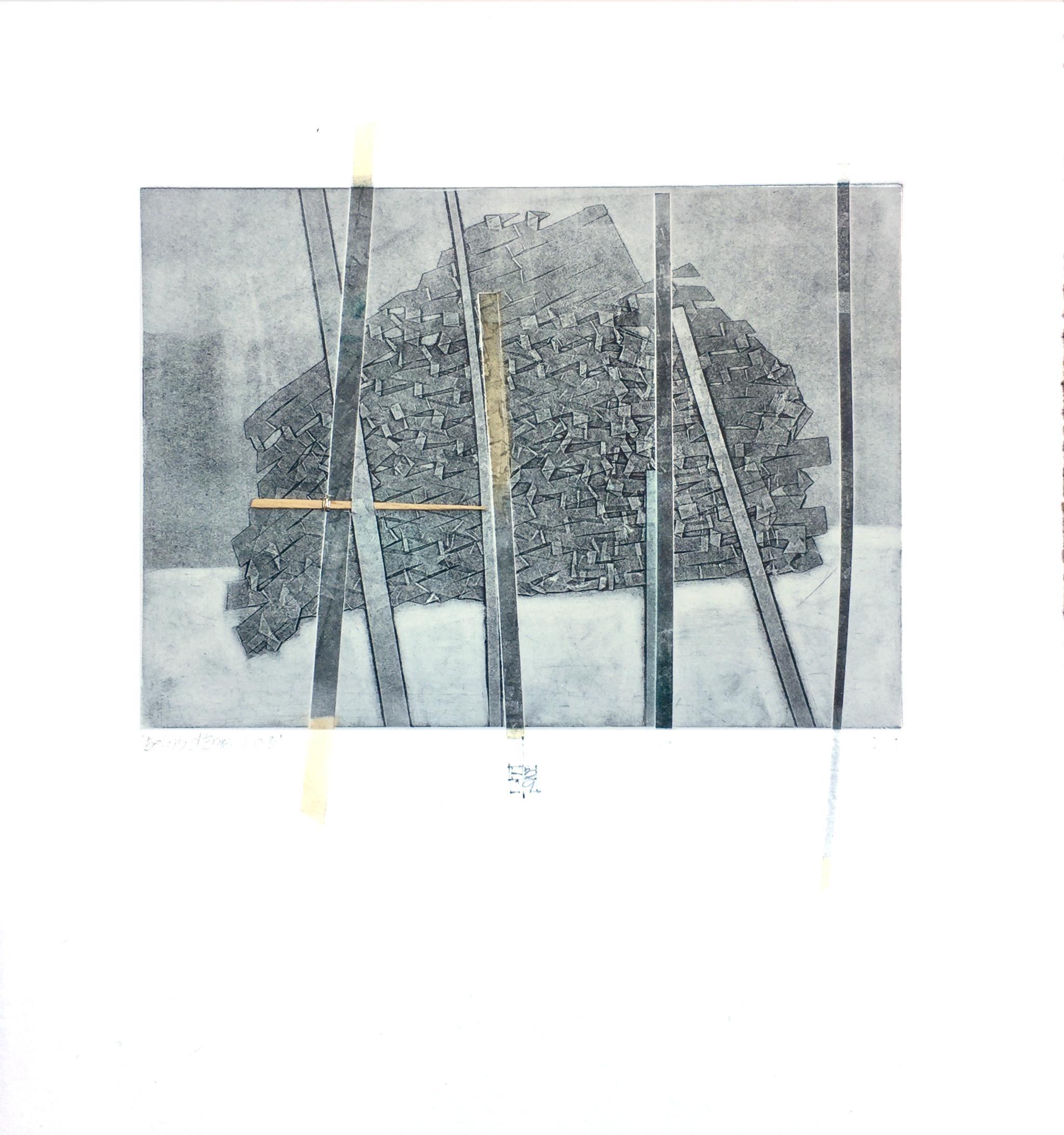 Behind Bars No. 3, abstract mixed media on paper, grey