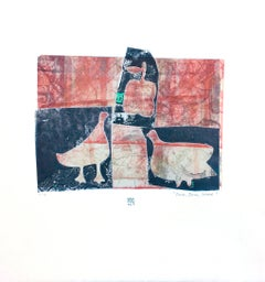 Duck, Duck, Goose, red and blue mixed media monotype on paper