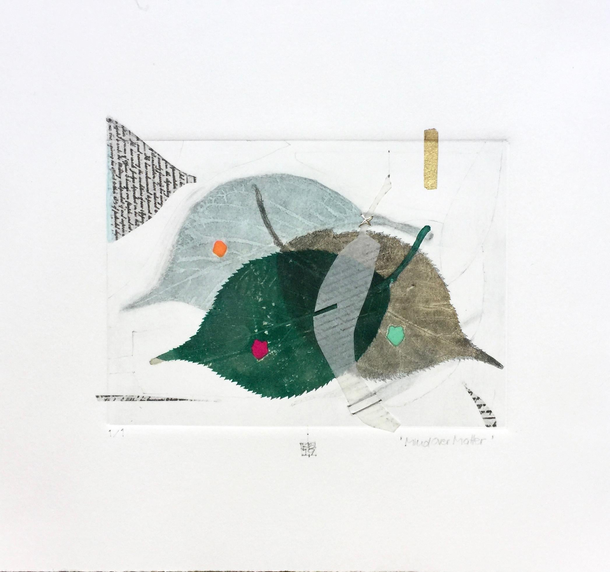 Mind Over Matter, green leaves, mixed media on paper