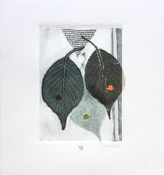 The Rustling I, green leaves, mixed media on paper