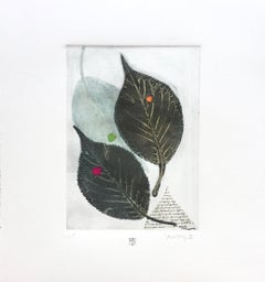 The Rustling III, green leaves, mixed media on paper