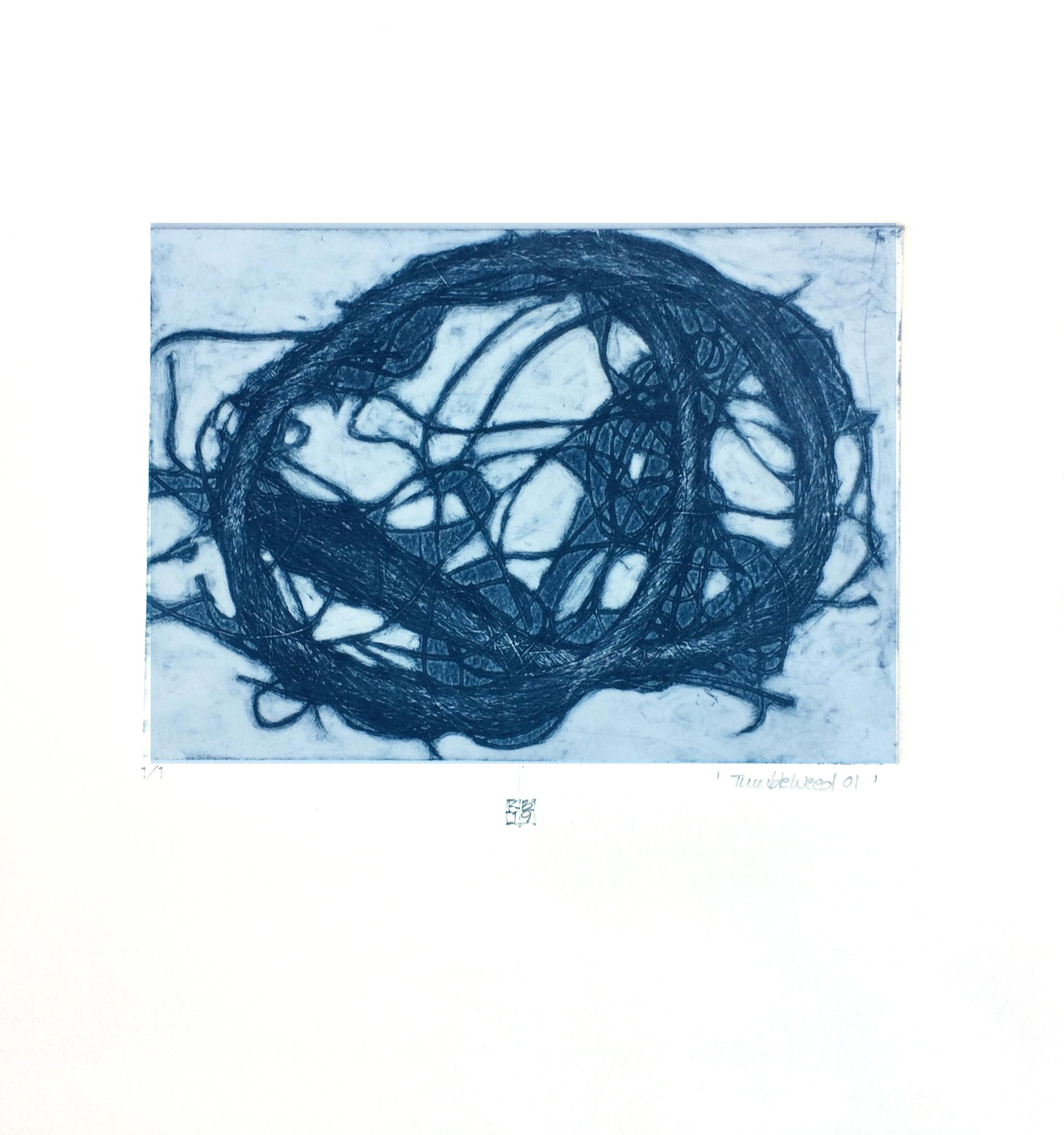 TumbleWeed 01, abstract mixed media on paper, blue