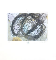 TumbleWeed 02, abstract mixed media on paper, multicolored