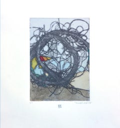 TumbleWeed 03, abstract mixed media on paper, multicolored