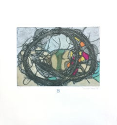 TumbleWeed 04, abstract mixed media on paper, multicolored