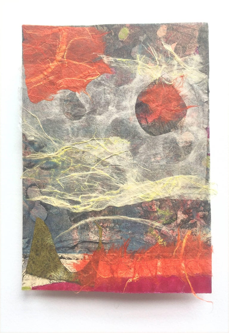 Karin Bruckner Abstract Print - Eruption, mixed media, 4 x 6 inches. Abstract expressionist