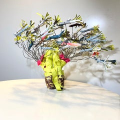 Accolades, mixed media sculpture with ballet shoes, multicolored