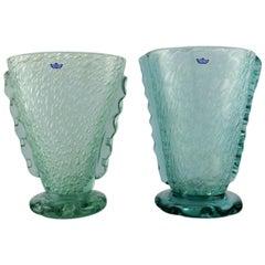 Karin Hammar for Stockholm Glasbruk, a Pair of Vases in Turquoise Art Glass
