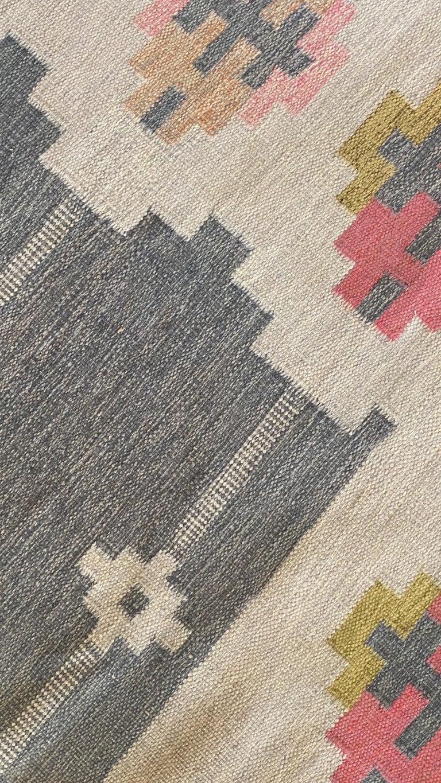Scandinavian Modern Karin Jönsson, Signed Flat-Weave Carpet, Dyed Wool, Sweden, 1950s For Sale