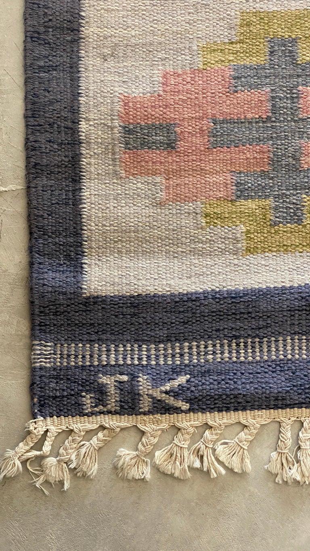 Swedish Karin Jönsson, Signed Flat-Weave Carpet, Dyed Wool, Sweden, 1950s For Sale