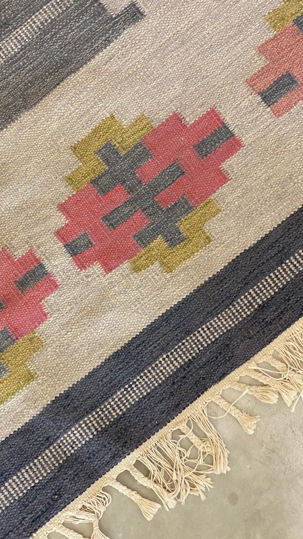 Mid-20th Century Karin Jönsson, Signed Flat-Weave Carpet, Dyed Wool, Sweden, 1950s For Sale