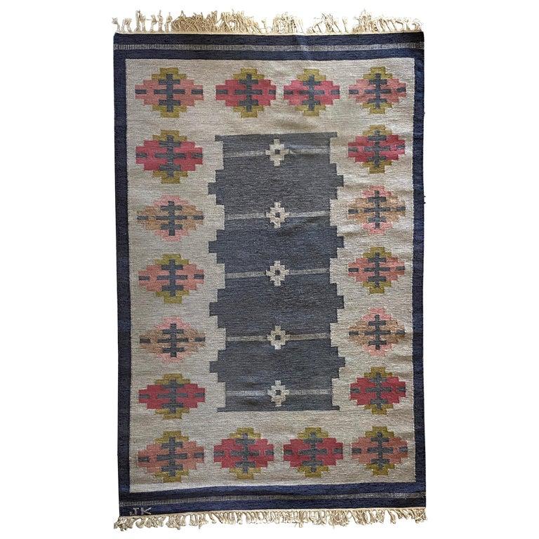 Karin Jönsson, Signed Flat-Weave Carpet, Dyed Wool, Sweden, 1950s For Sale