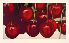 untitled, cherries, 2004 etching on hand-made paper, photorealistic