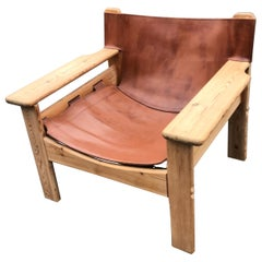"Karin Mobring ""Natura"" Leather Safari Style Lounge Chair"