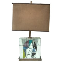 Karin Van Leyden Églomisé Glass Lamp