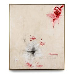 """Amore"" Large Painting in Hues of Ivory, White, Black and Reds, 6 ft x 5 ft"