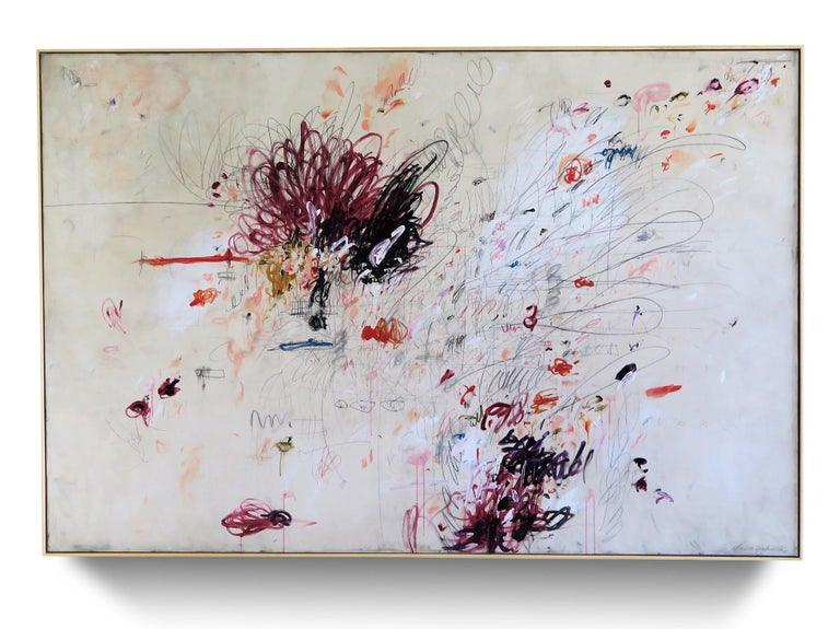 """""""Beautiful Mischief"""" Abstract Acrylic, Oil Pastels and Pencil Painting, 72""""x108"""" - Mixed Media Art by Karina Gentinetta"""